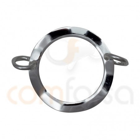 Sterling silver round hammered connector 21 mm