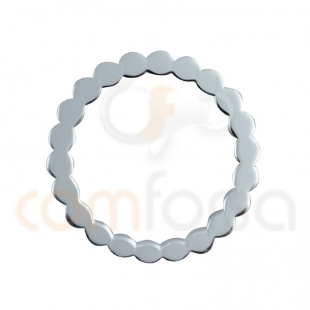 Waves circle connector 15 mm sterling silver 925