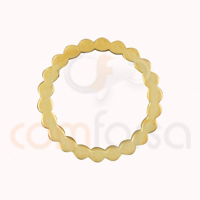 Gold plated Sterling silver 925nl Wavy circle connector 15 mm