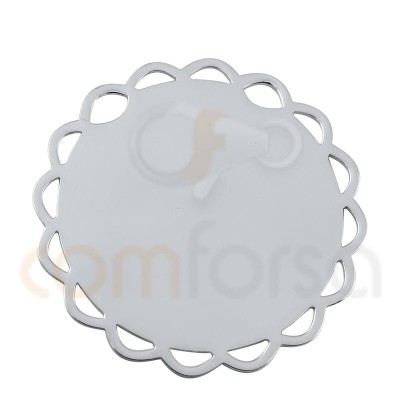 copy of colgante chapa flor 15 mm plata 925