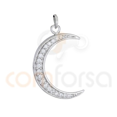Sterling Silver Moon Pendant with White Zircnia 21 x 14 mm