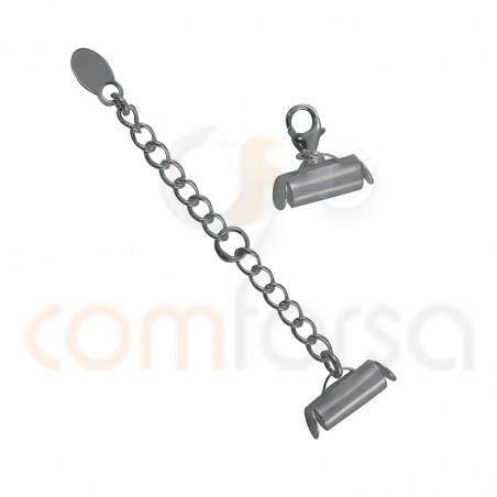 Sterling silver 925ml End cap with chain 11 x 4 mm