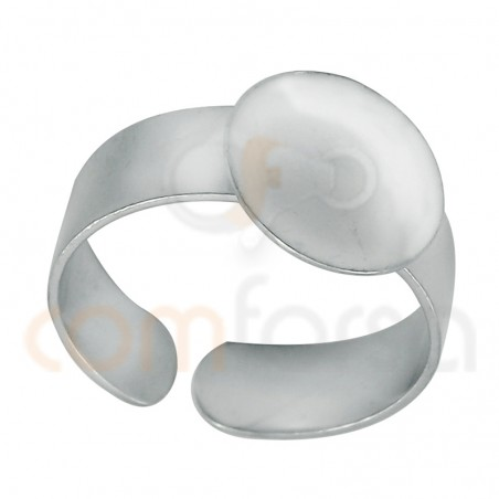 Sterling Silver 925 adjustable open ring with flat disc 12 mm