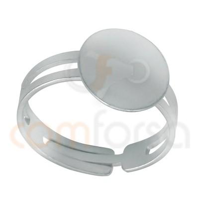 Sortija con disco para pegar 11.5mm plata 925ml