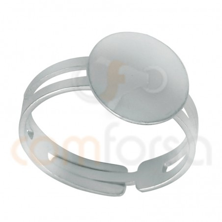 Sterling Silver 925 adjustable open ring with flat disc 11.5 mm