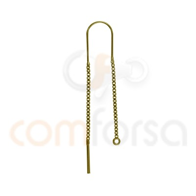 Sterling silver 925 gold plated Ear threads 25 mm