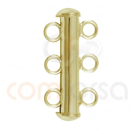 Gold plated sterling silver 925 tube clasp 3 rows