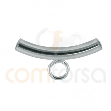 Sterling silver 925 Curved tube with ring 2.7 x 20 mm