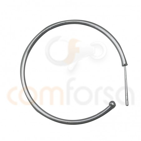 Sterling silver 925 hoop earring with catch 30 mm