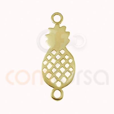 Entrepieza piña 19 x 10 mm Plata chapada en oro