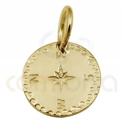 Sterling silver 925 gold-plated polar star pendant 10 mm