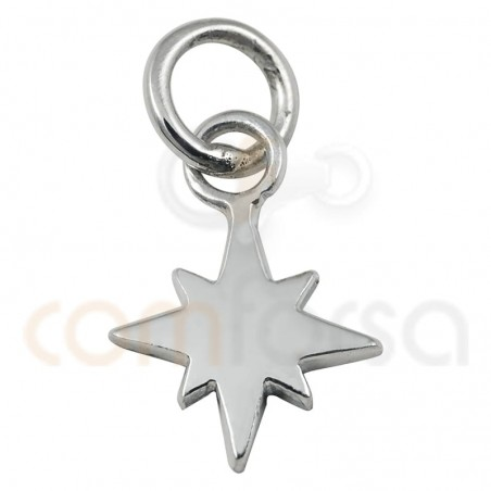 Sterling silver 925 gold-plated smooth polar star charm 7 mm