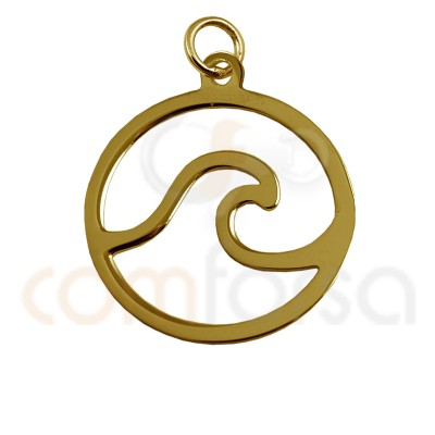Mini Wave Charm 11 Mm Sterling Silver 925