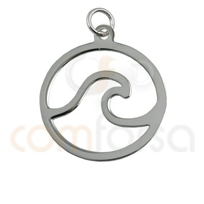 Sterling silver 925 gold-plated Mini Wave pendant 11 mm
