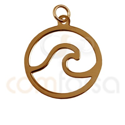 Mini wave charm 11 mm sterling silver rose gold plated