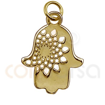 Mini Fatima´S Hand Charm 11 Mm Sterling Silver Gold plated