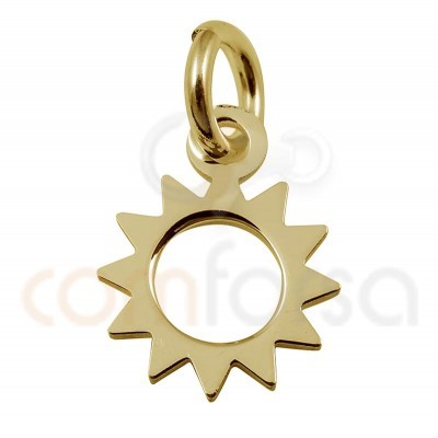 Mini sun charm 8 mm sterling silver gold plated
