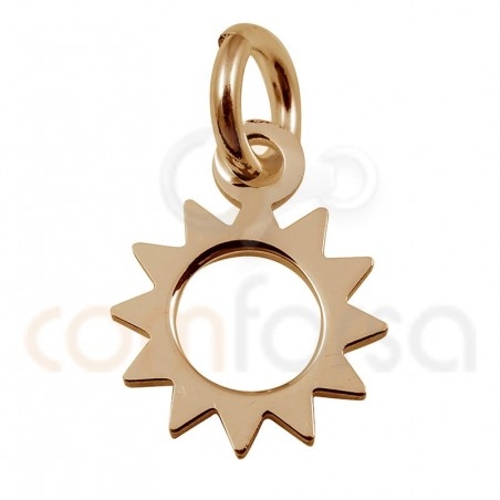 Mini sun charm 8 mm sterling silver rose gold plated
