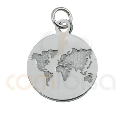 Mini world bas-relief charm 11mm sterling silver 925