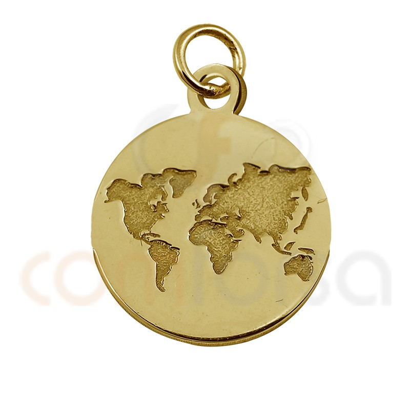 Mini world bas-relief charm 11mm sterling silver gold plated