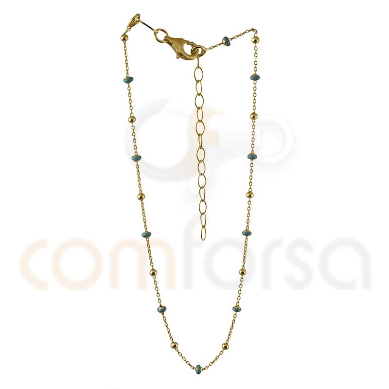 Sterling silver 925 gold-plated mint enamel balls anklet