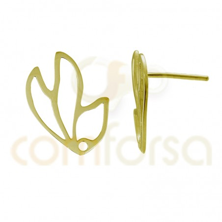Sterling silver 925 gold-plated earring fittings flower cut-outs 18 x 23 mm