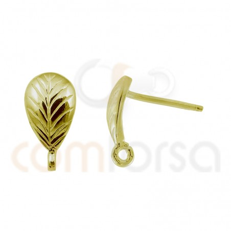 Sterling silver 925 gold-plated leaf fittings for earrings 8 x 5 mm