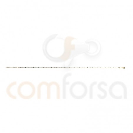 Balls and black enamel chain 40+5cm sterling silver gold plated