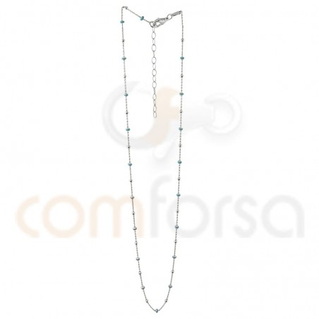 Sterling silver 925 Bead with mint enamel chain 40cm