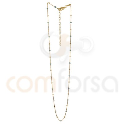 Balls and mint enamel chain 40+5cm sterling silver gold plated