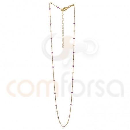 Gold plated sterling silver balls and fuchsia enamel chain  40+5cm