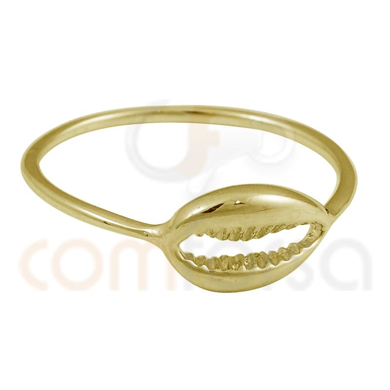 Gold plated sterling silver shell ring