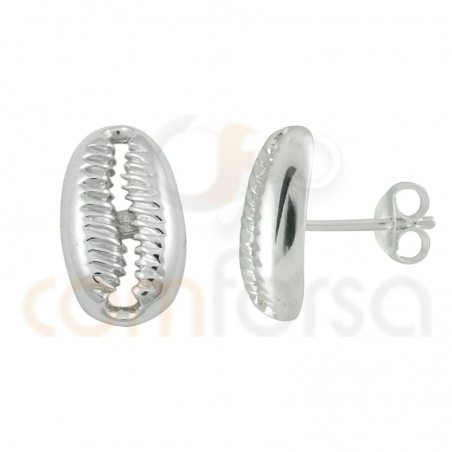 Gold plated sterling silver shell earring 14 x 8 mm