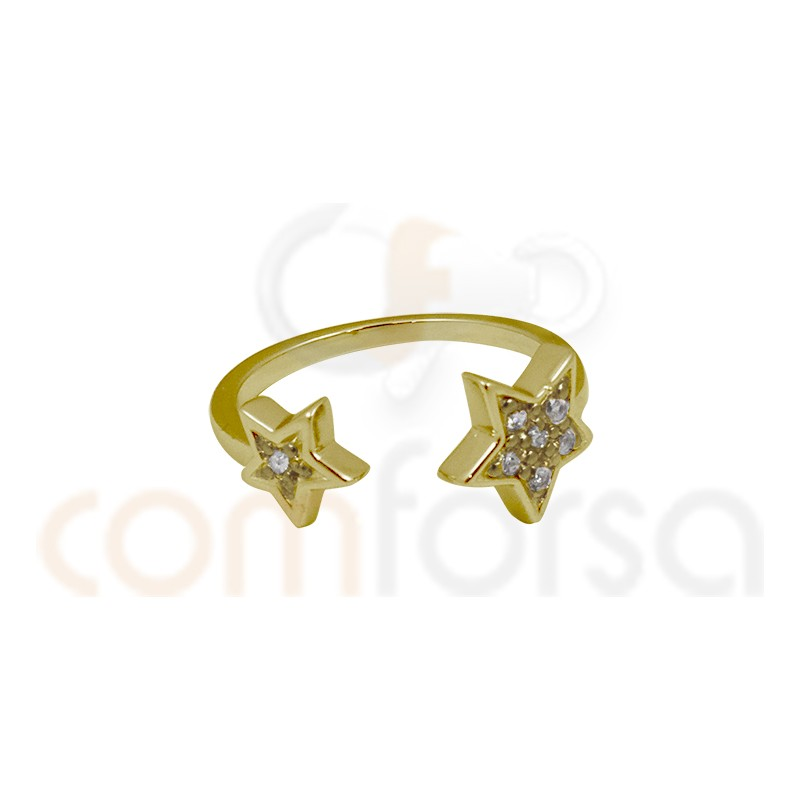 Gold plated sterling silver double star open ring with zirconia
