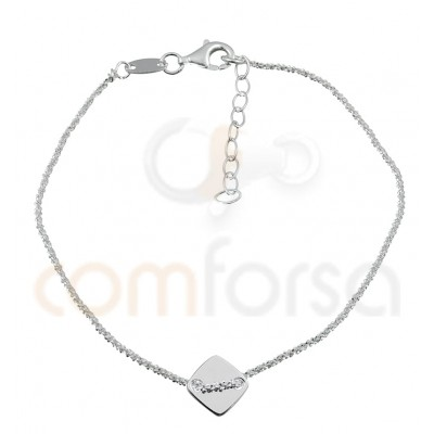 Sterling silver 925 chain bracelet with diamond 17 + 3 cm