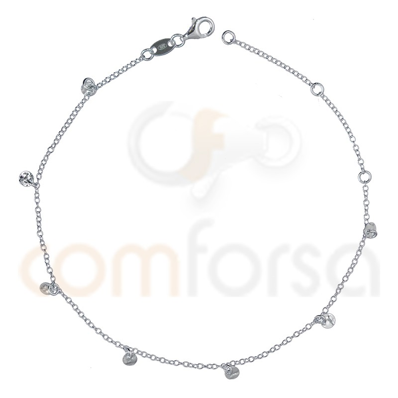 Sterling silver 925 anklet with hammered round charms 4 mm