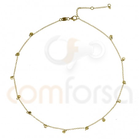 Sterling silver 925 chain with hammered round charms 4mm