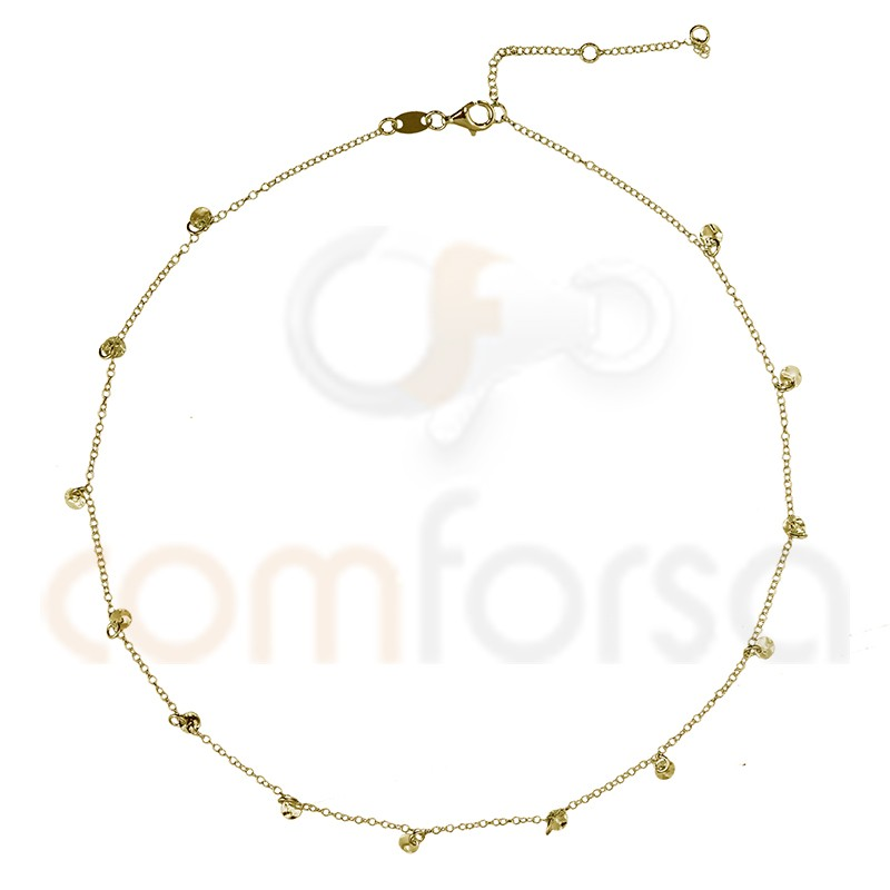Sterling silver gold plated chain with hammered round charms 4 mm