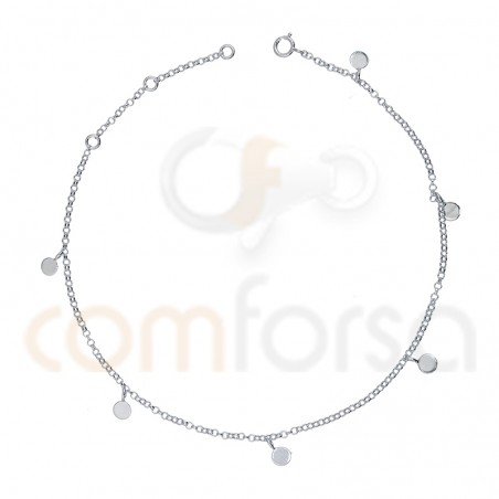 Sterling silver 925 anklet  with round charm  4 mm