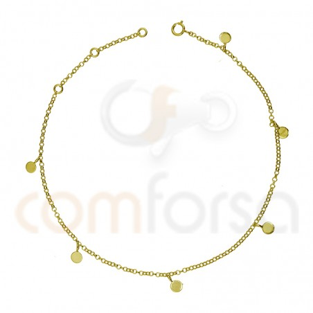 Sterling silver 925 gold-plated anklet with round charms 4 mm