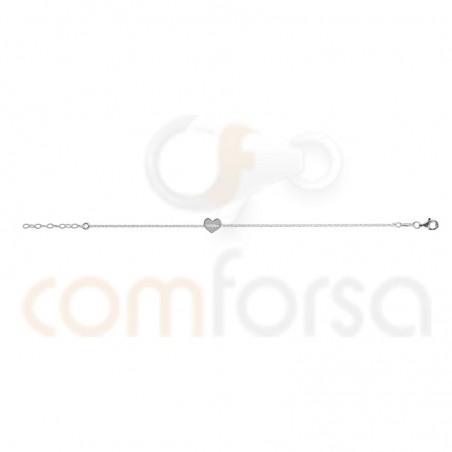 Sterling silver bracelet with heart 17 + 3 cm