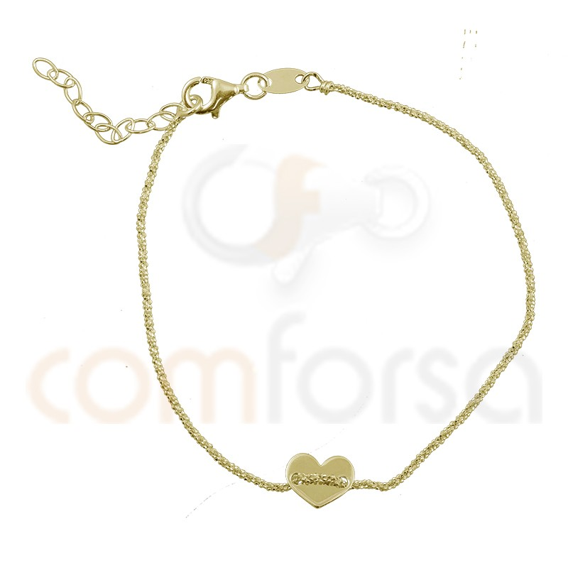 Sterling silver gold-plated bracelet with heart 17 + 3 cm