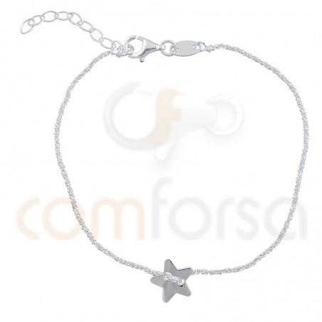 Pulsera cadena con estrella 17+3 cm plata 925