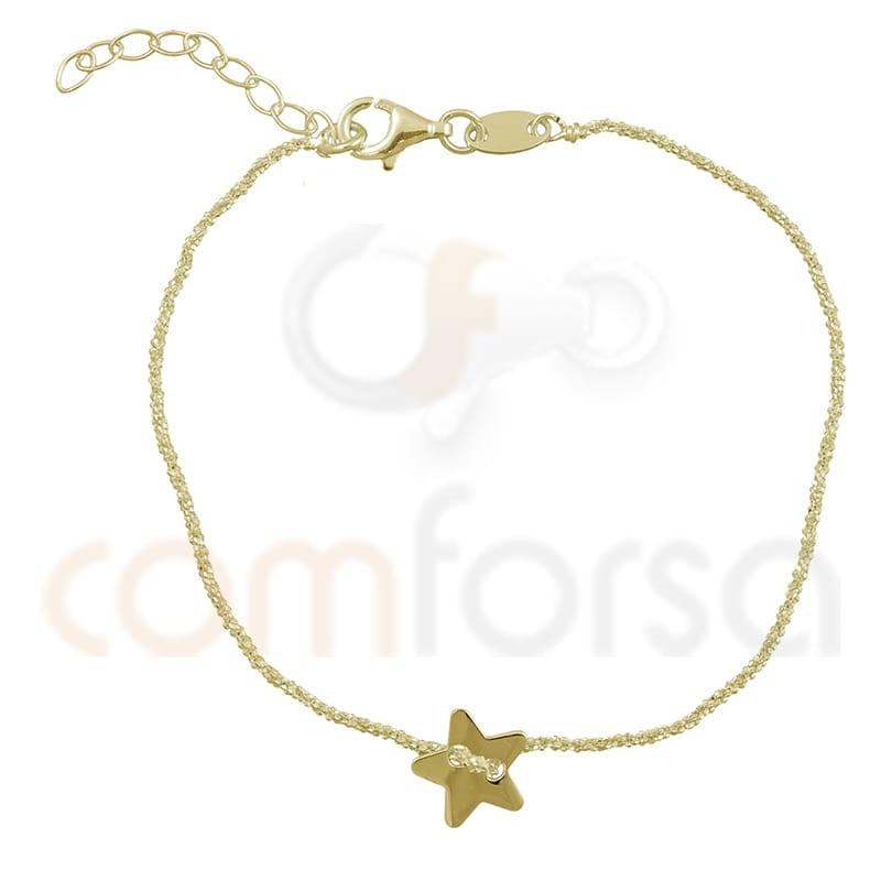 Pulsera cadena estrella 17+3 cm plata chapada en oro