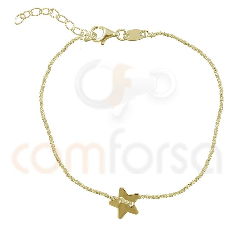 Sterling silver 925 gold-plated star chain bracelet 17 + 3 cm