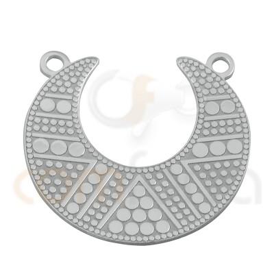 Colgante luna étnica 20 mm plata chapada en oro