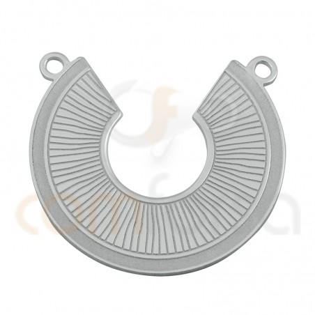 Sterling silver 925 waves and stripes connector 20 mm