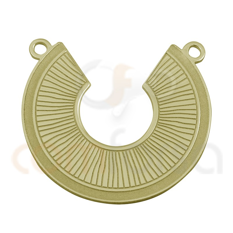Gold plated sterling silver waves and stripes connector 20 mm