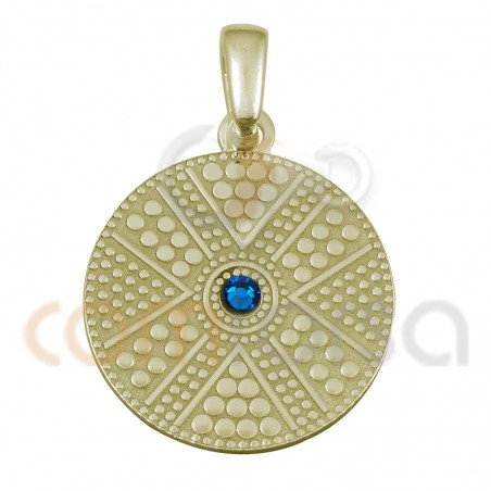 Gold plated sterling silver round ethnic pendant with capri blue strass 20 mm
