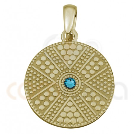 Gold plated sterling sivlver round ethnic pendant with green strass 20 mm